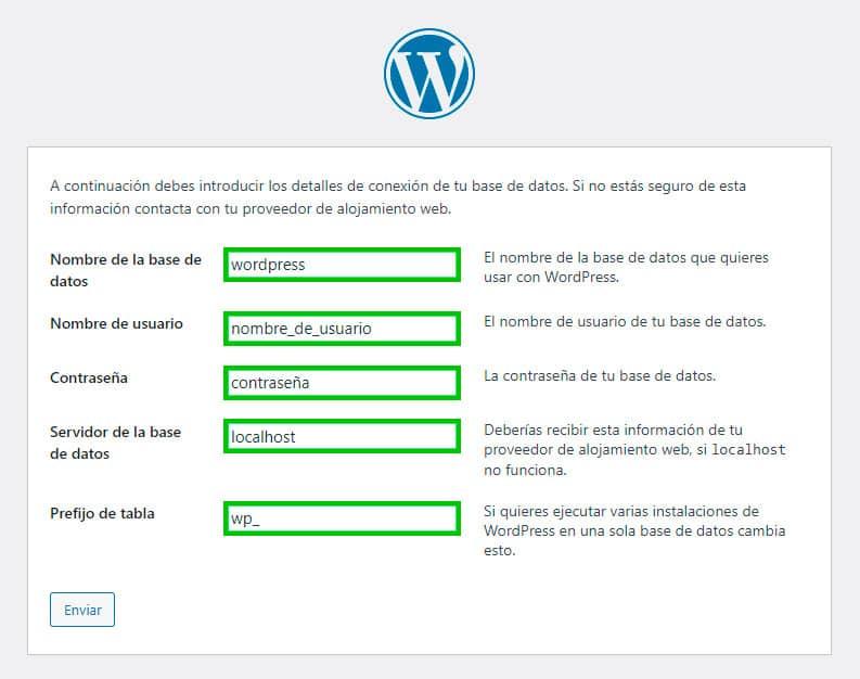 datos necesarios instalación wordpress